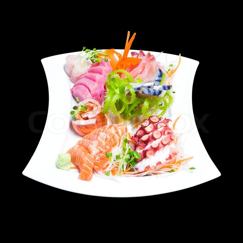 Mixed sashimi in white plate isolated on black background  : 7568487 mixed sashimi in white plate isolated on black background with clipping path from www.colourbox.com size 800 x 800 jpeg 76kB