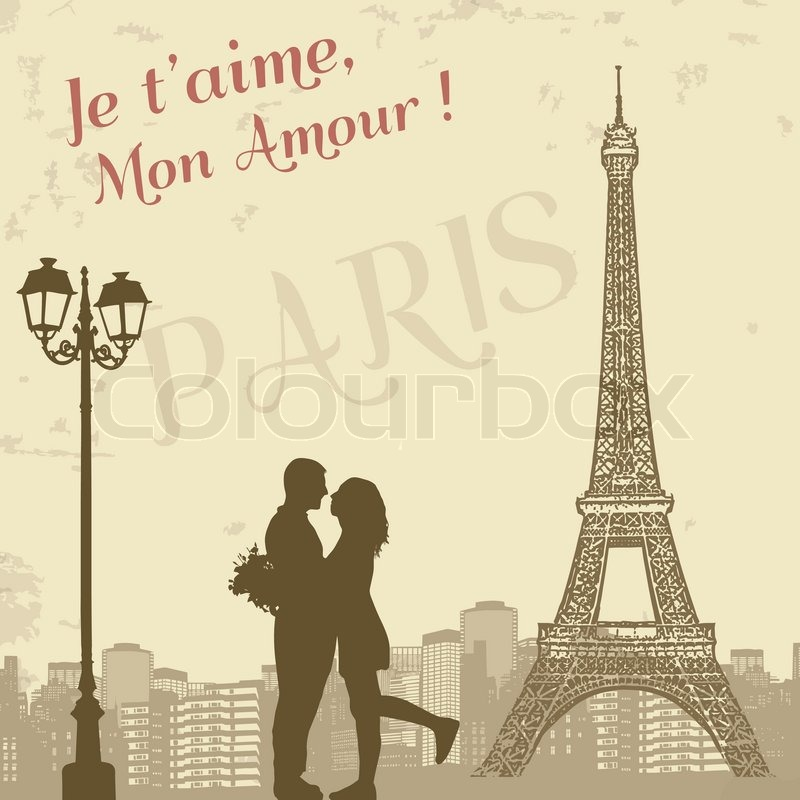 retro paris grunge poster with lovers and city scape vector illustration stock vector colourbox. Black Bedroom Furniture Sets. Home Design Ideas