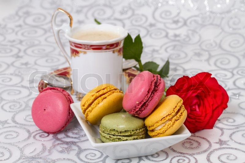 7574562-french-macarons-with-coffee-and-