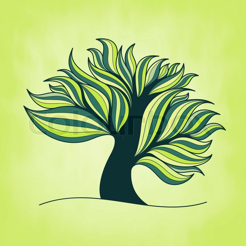 StockVektor von Grüne frische bunten Baum mit Zweigen und Blättern