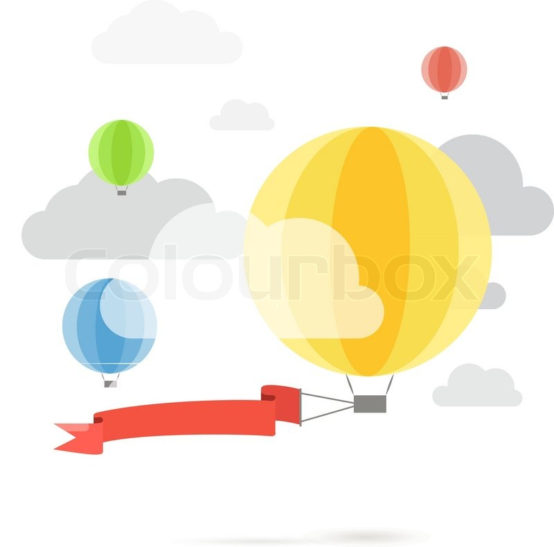 Flying Color Balloons Template For A Text