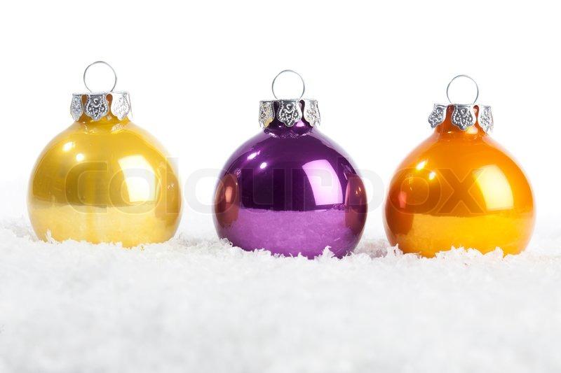 Christbaumkugeln Gelb.Set Christbaumkugeln In Gelb Violett Stock Bild Colourbox