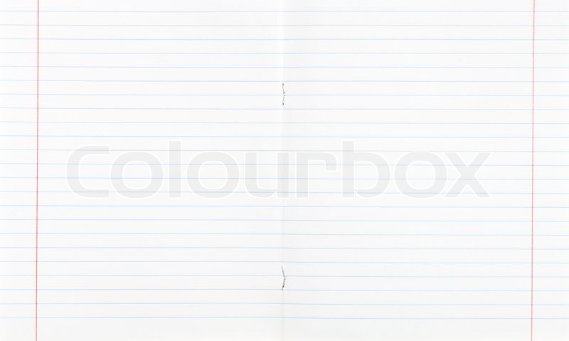 Narrow Lined Double Page Spread With Red Margin, Stock Photo  Double Lined Paper