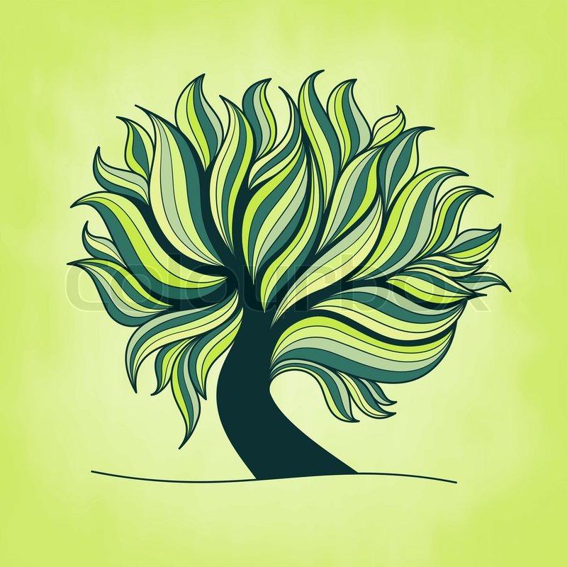 Grune Farbe In Blattern : StockVektor von Grüne frische bunten Baum mit Zweigen und Blättern