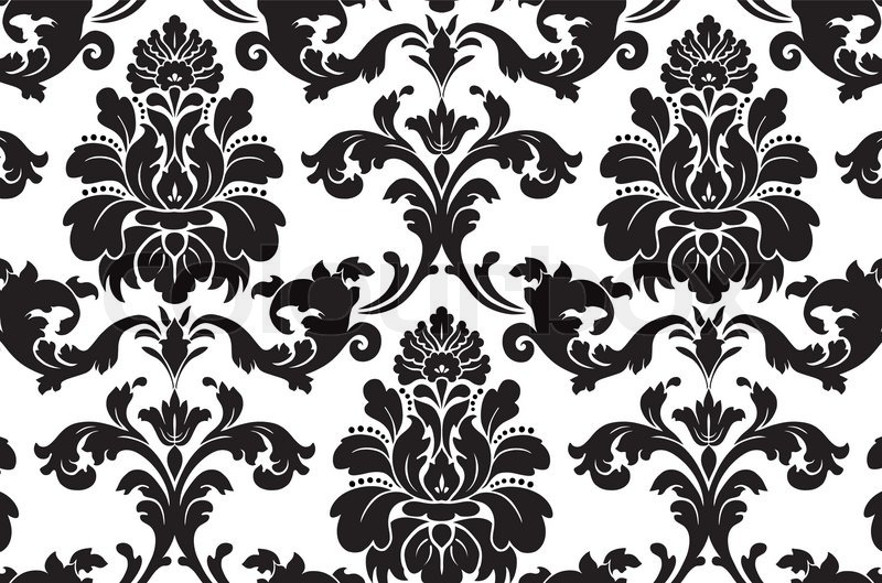 vector seamless damask pattern fabric swatch black and white stock rh colourbox com damask pattern vector free download floral damask pattern vector