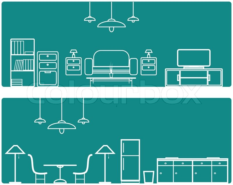 Interior Banner set .with furniture   Stock Vector