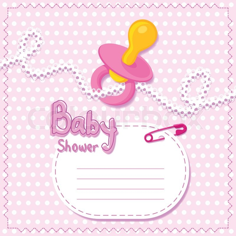 baby shower pink card template vector colourbox
