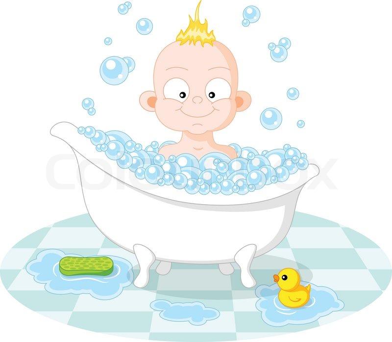 Glücklich Lächelnde Junge In Der Badewanne Vektorgrafik Colourbox