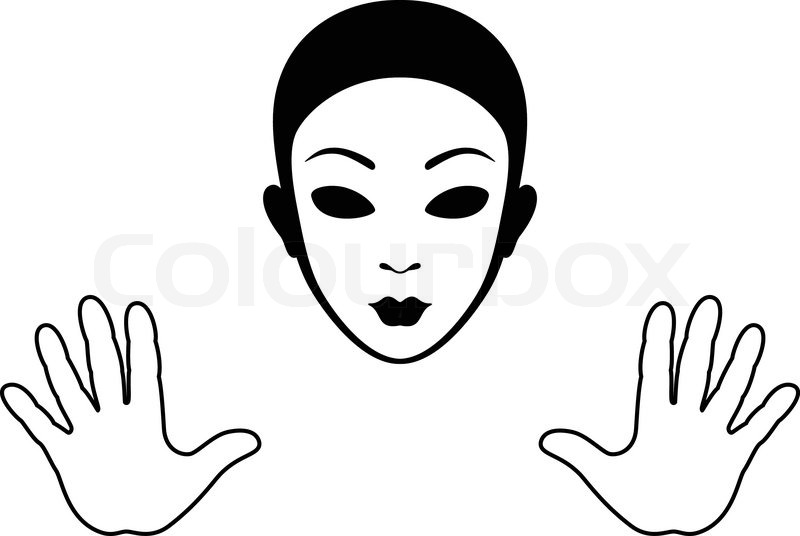 Mime Mask and Hands Silhouette Isolated on White | Stock ...