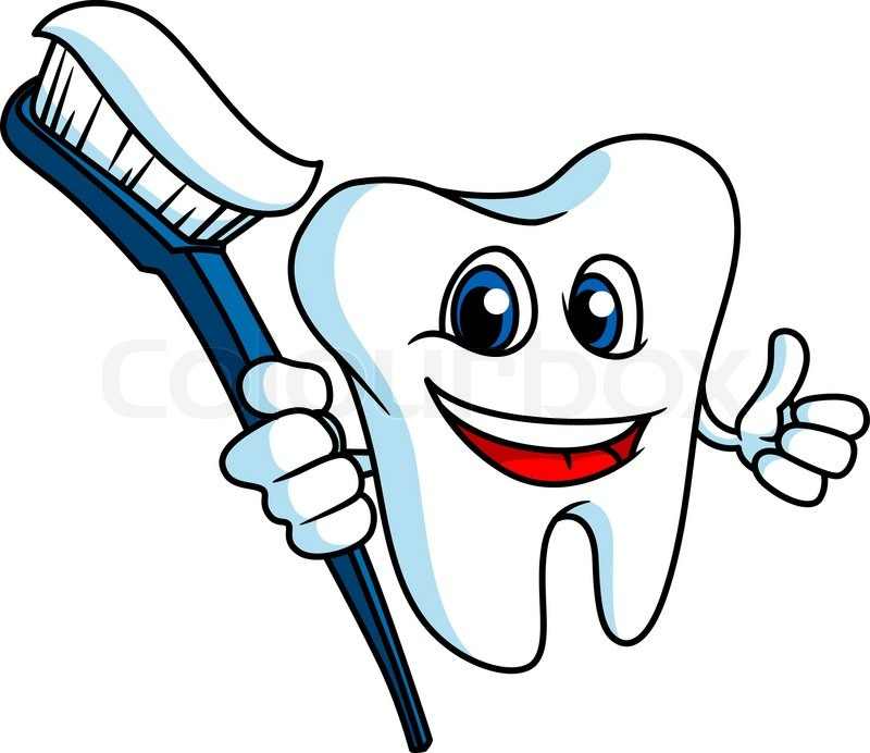Smiling tooth in cartoon style with tooth-brush for ...