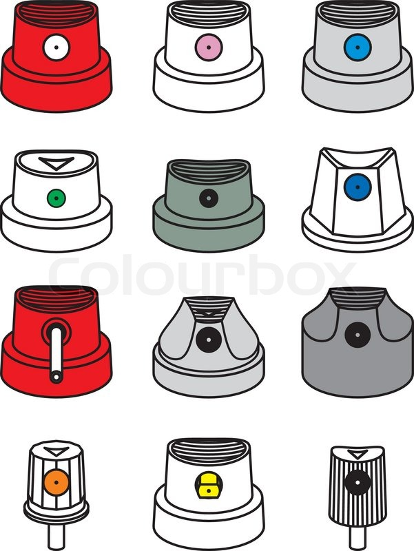 Graffiti spray can nozzle caps stock vector colourbox