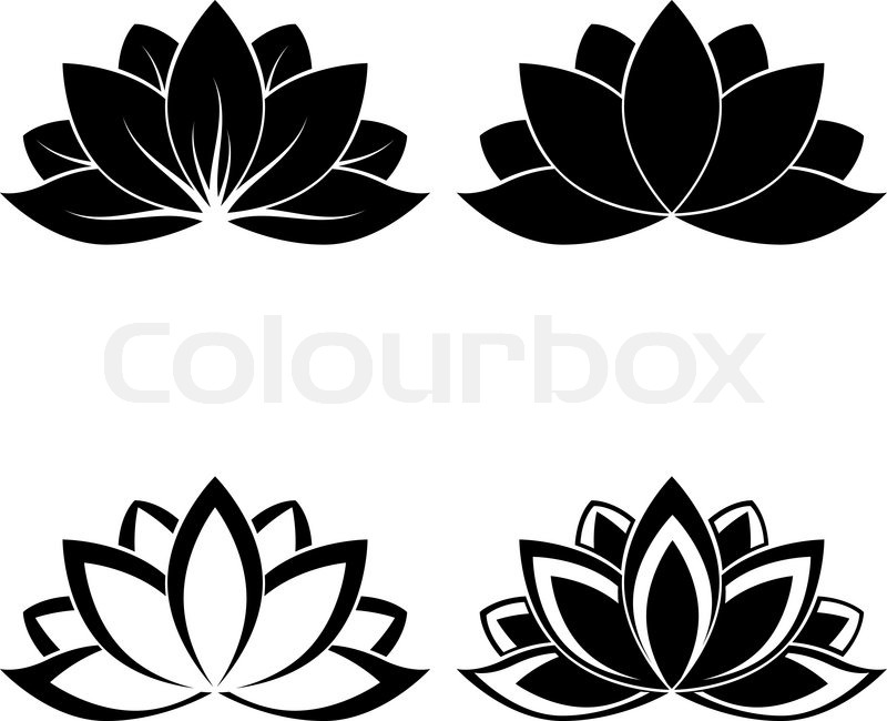 Four lotus silhouettes for design vector | Stock Vector ...