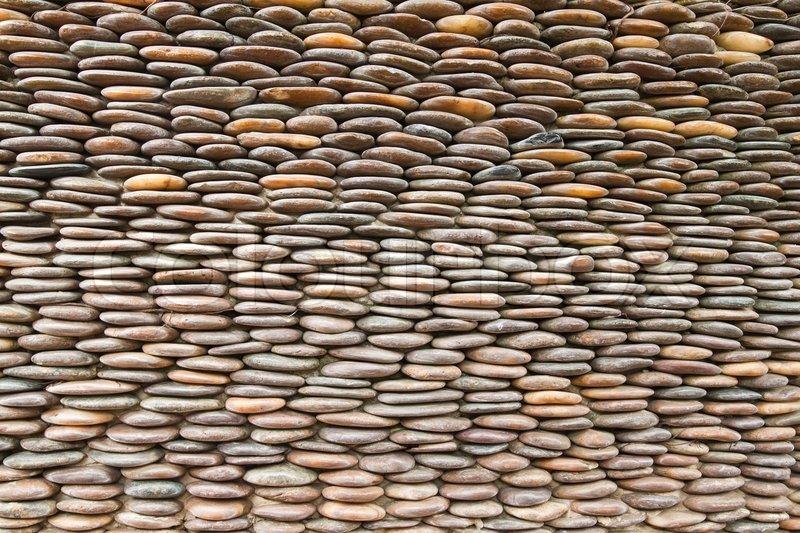 Close Up Of Kreis Kiesel Wand, Abstrakten Hintergrund, Stock Foto