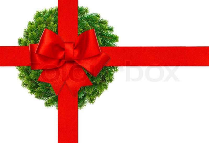 rote schleife und gr nen kranz weihnachten stockfoto. Black Bedroom Furniture Sets. Home Design Ideas