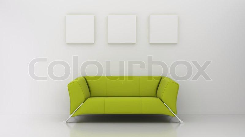 Weißer Hintergrund grüne sofa   Stockfoto   Colourbox