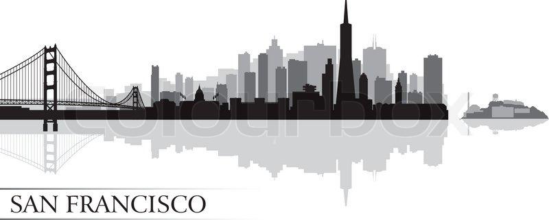 san francisco city skyline silhouette background vector