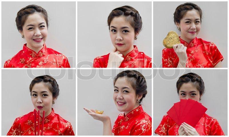 Set ziemlich chinesische junge Frau für ein glückliches chinesisches ...