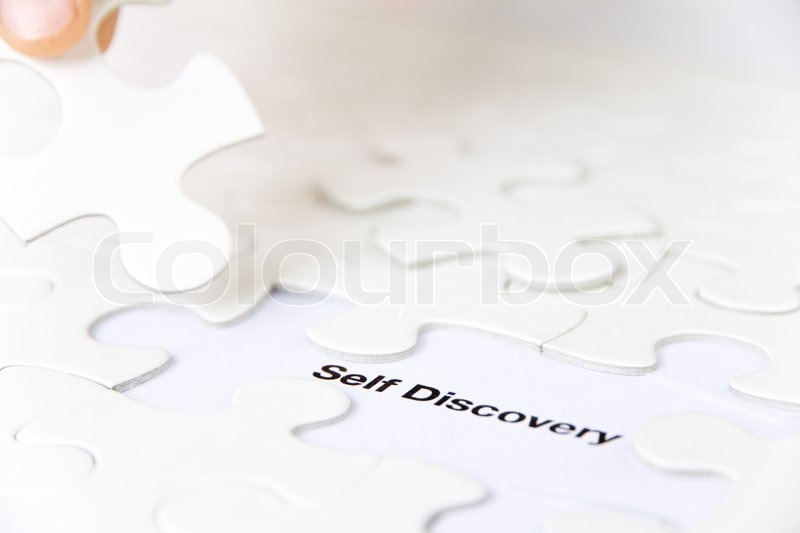 Missing puzzle piece, self discovery concept, stock photo
