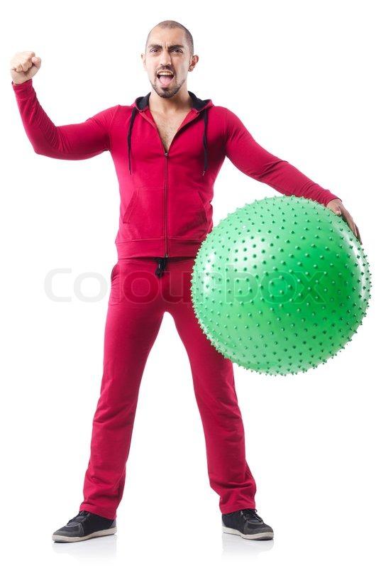 Mand med schweiziske bold laver øvelser på hvidt | Stock Billede | Colourbox