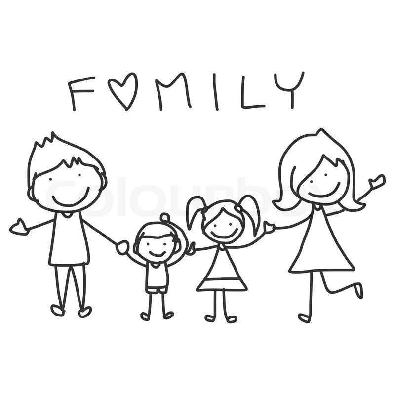 First Night Clip Art : Hånd tegning tegneserie lykkelig familie stock vektor