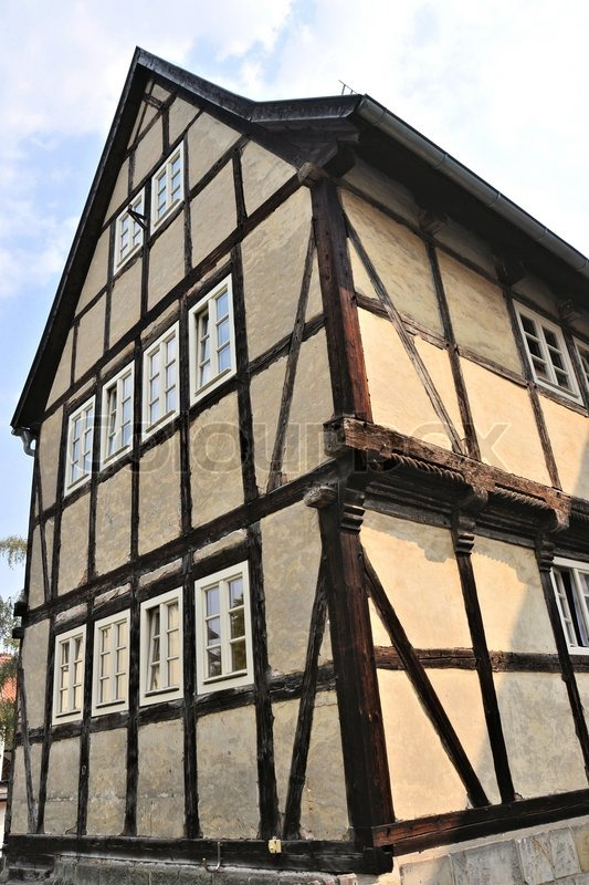Historic half-timbered houses in the old part of the world heritage town of Quedlinburg, stock photo