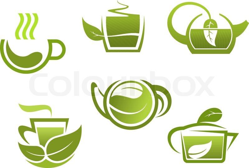 Green Tea Symbols Set Stock Vector Colourbox