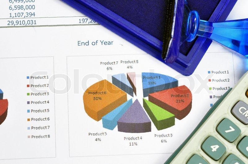Financial statements and line chart, stock photo