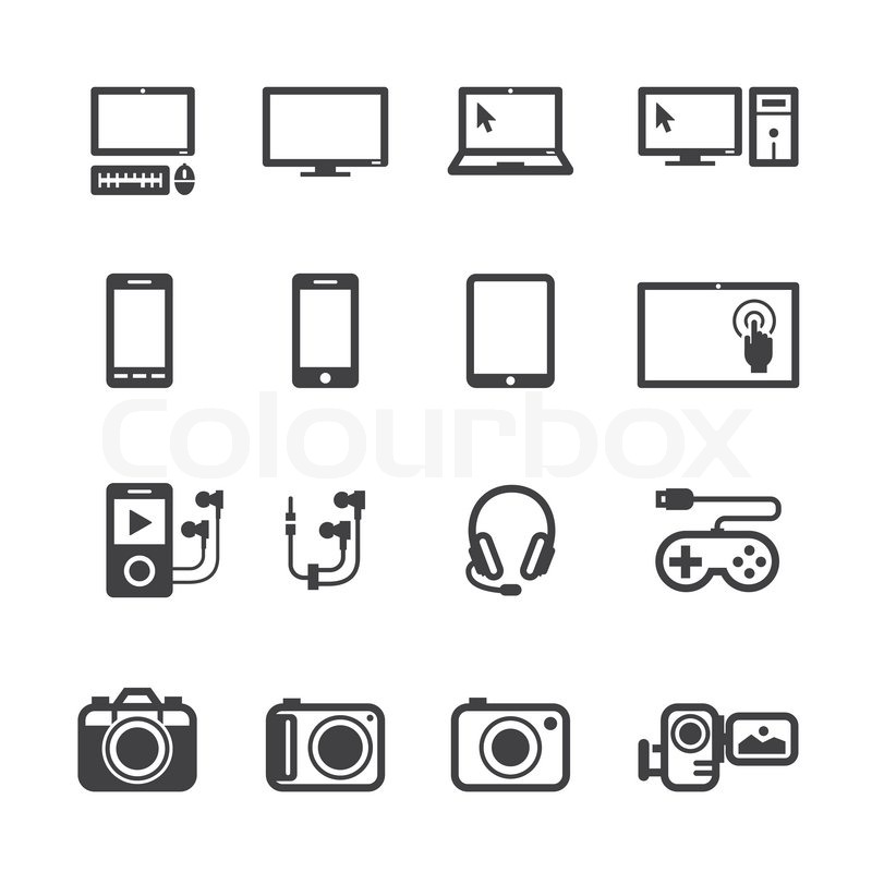 electronic devices icons with white