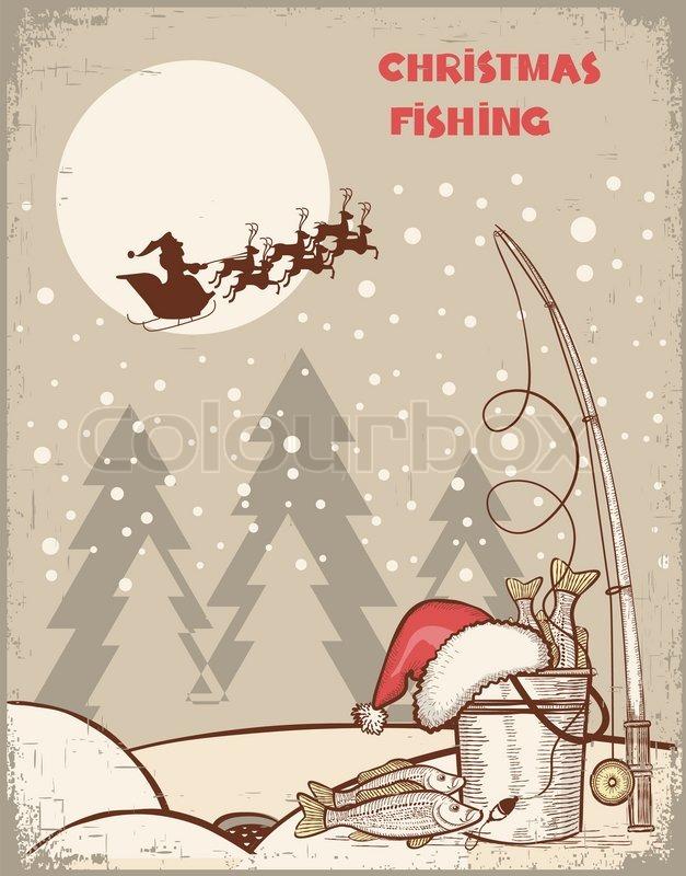 Angeln im Winter Weihnachten nightVintage Bild mit Santa ...