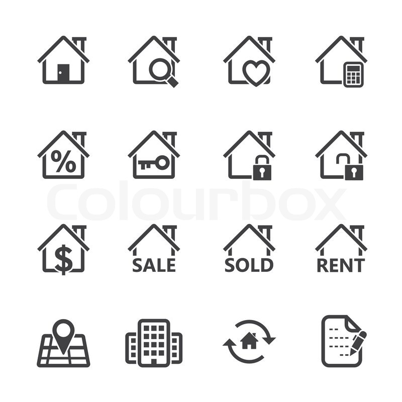 real estate icons white backgroundeps vektorgrafik colourbox. Black Bedroom Furniture Sets. Home Design Ideas