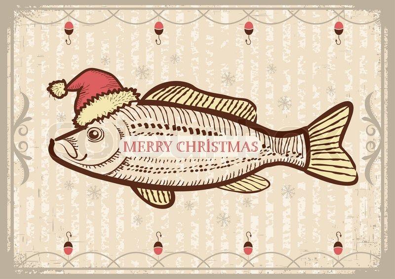 weihnachten fisch in santa red hatvintage zugpferd auf. Black Bedroom Furniture Sets. Home Design Ideas