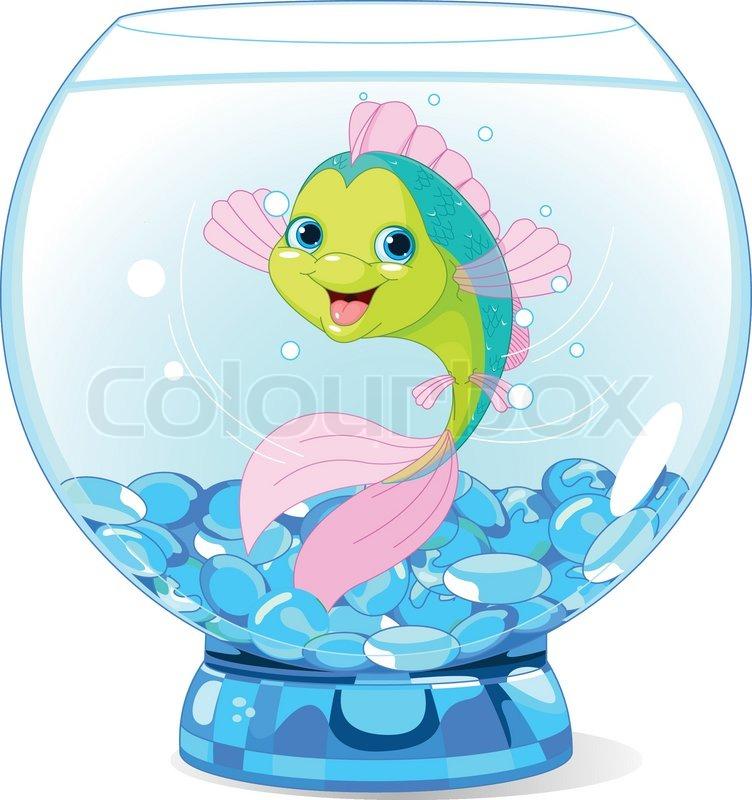 Nette Karikatur- Fische im Aquarium   Vektorgrafik   Colourbox