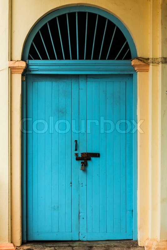 Wooden Front Door To The House Colonial Old Building Style At Nong Khai Thailand