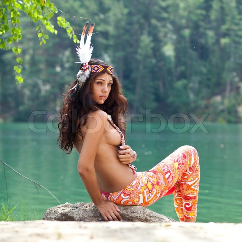 Young Woman In Costume Of American Indian  Stock Photo -8099