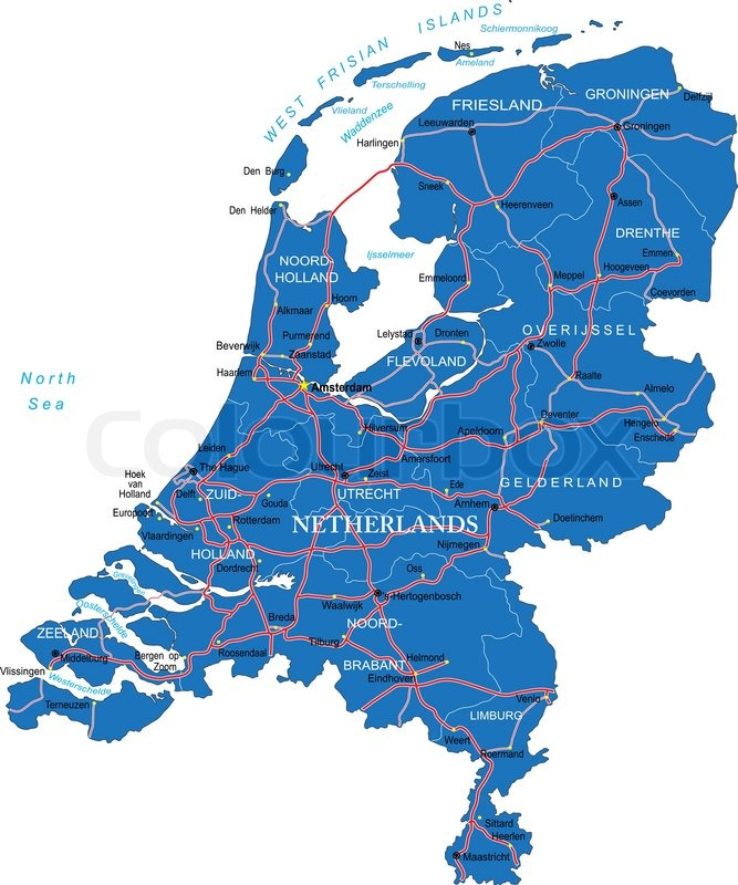Highly detailed vector map of Holland with administrative regions
