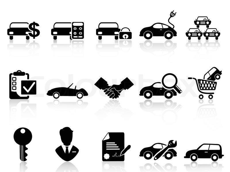auto autohaus icons set vektorgrafik colourbox. Black Bedroom Furniture Sets. Home Design Ideas