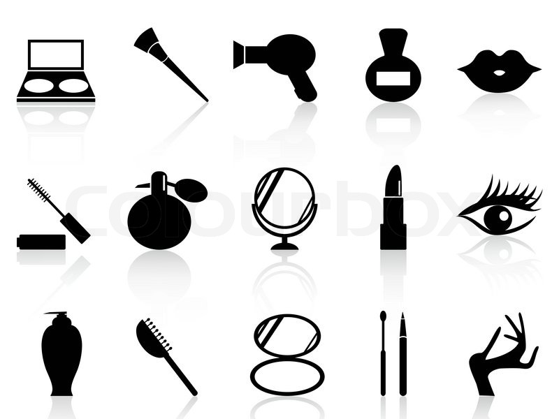 Black And White Makeup Icon Isolated Black Cosmetics And Makeup Icons Set From White Background Vector