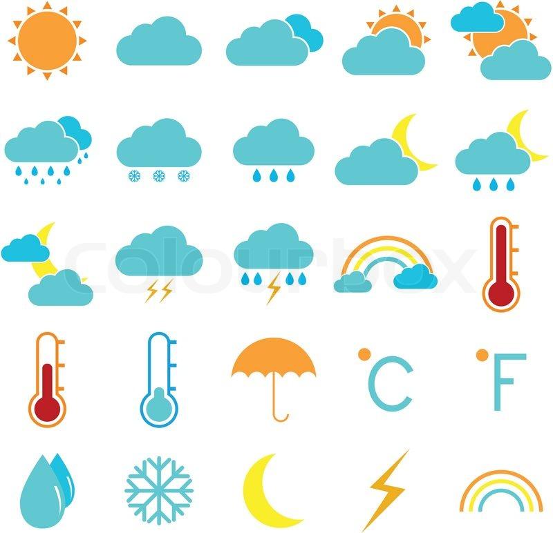 Wetter und Klima farbige Symbole auf weißem Hintergrund ...