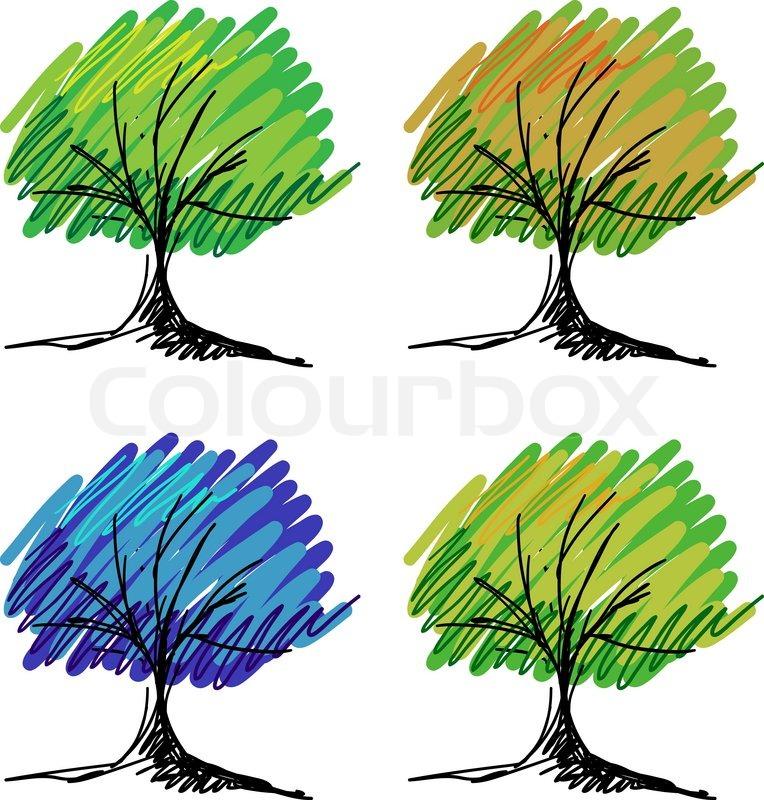 Set Von Vektor Baum Skizzen