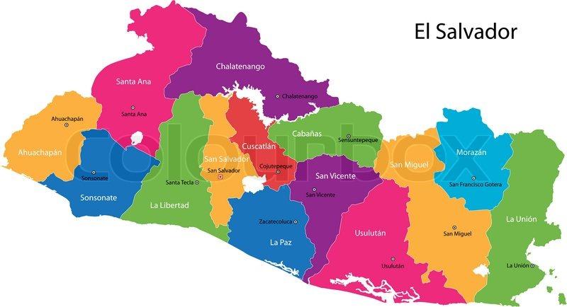 El Salvador Map Stock Vector Colourbox