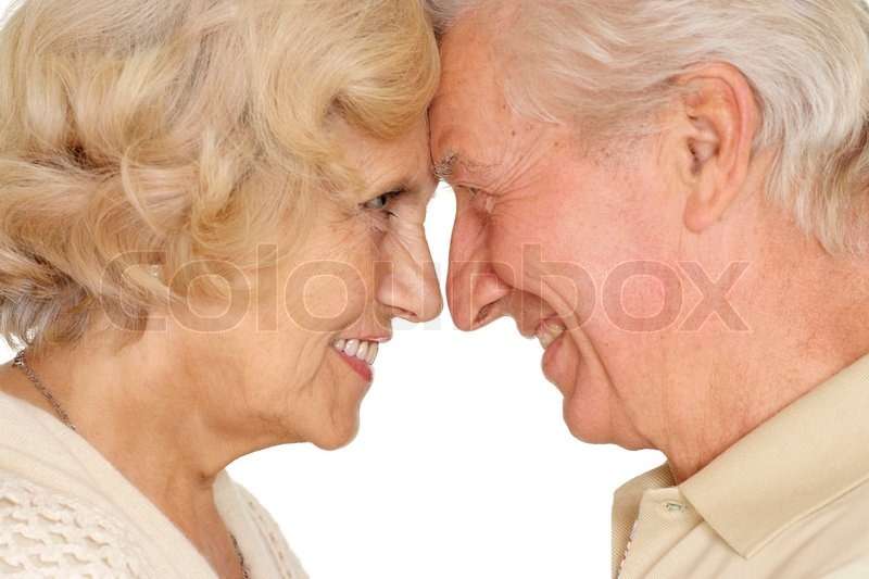Happy older pair on a white background, stock photo