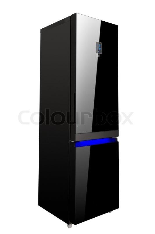Zwei Glastür schwarz glänzend Kühlschrank isoliert auf weiß ...