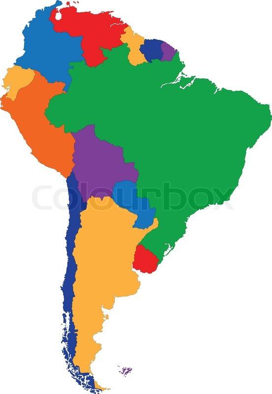 Farverige Sydamerika Kort Stock Vektor Colourbox