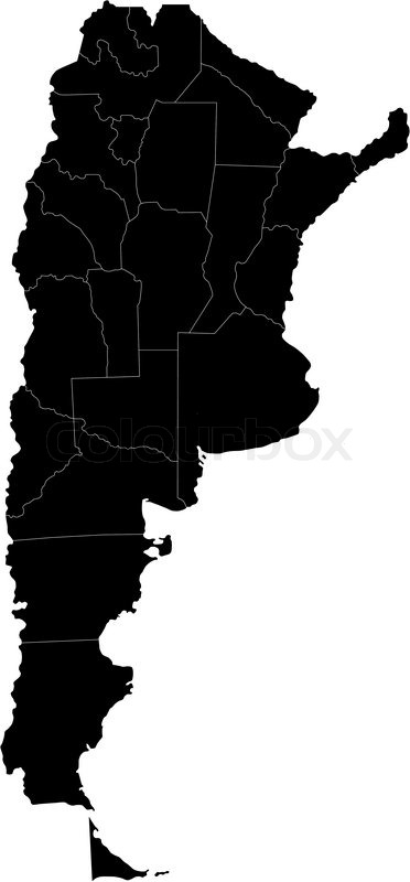 Black Argentina Map Stock Vector Colourbox - Argentina map black and white