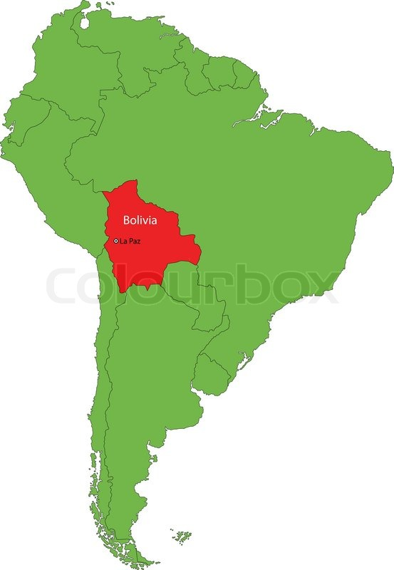 Location Of Bolivia On The South Stock Vector Colourbox