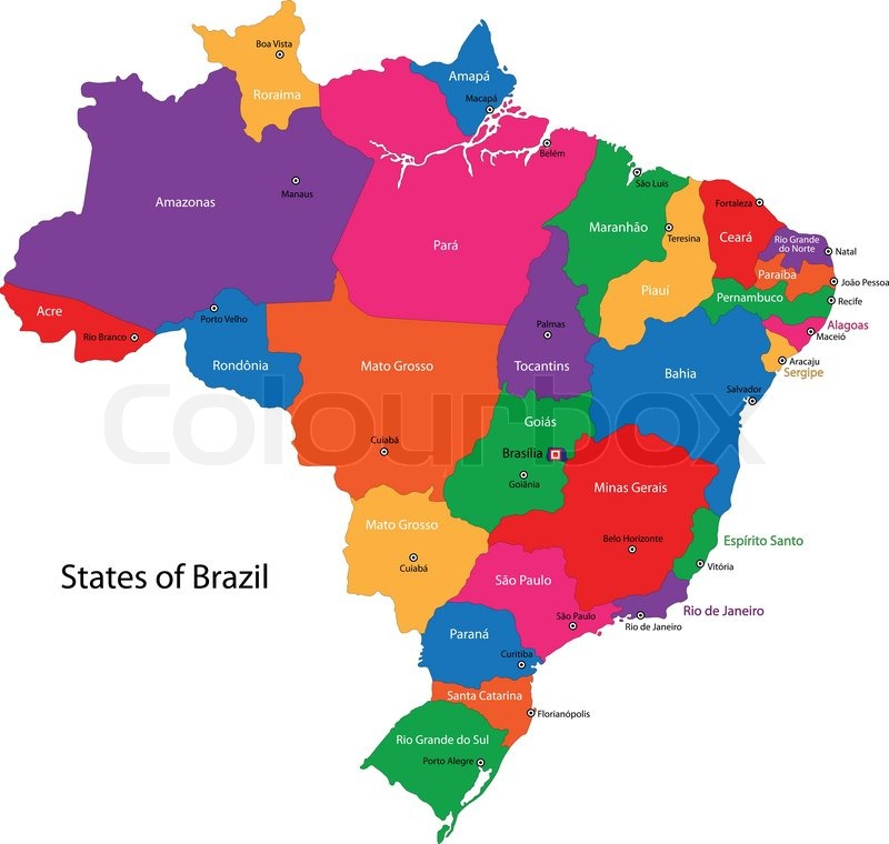 Brazil Map Stock Vector Colourbox