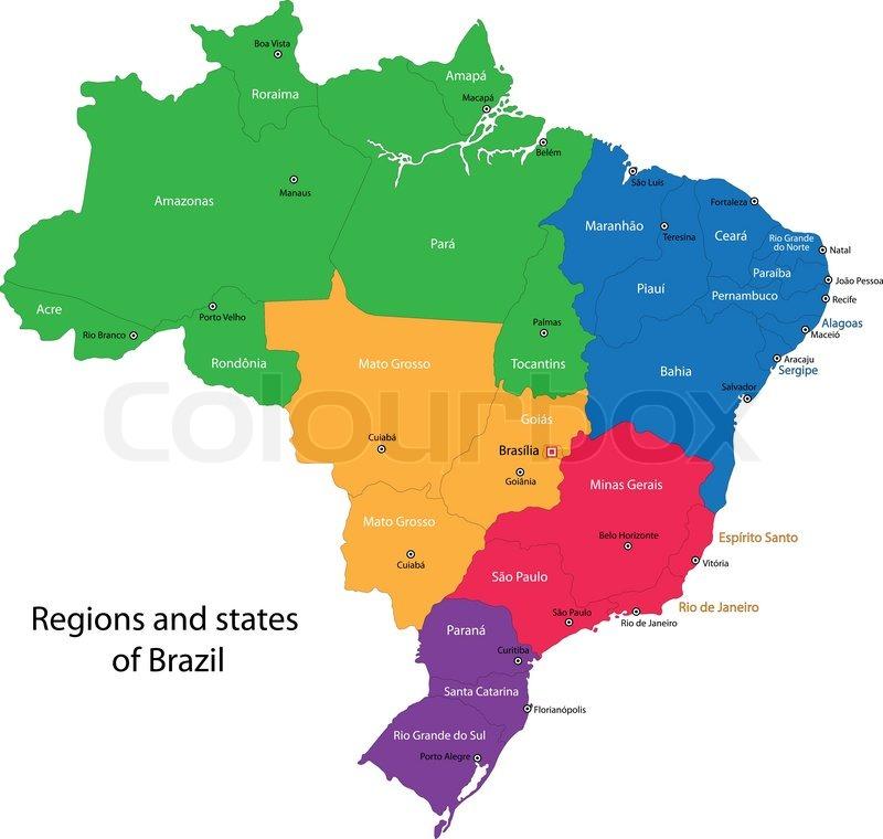 Colorful Brazil Map Stock Vector Colourbox