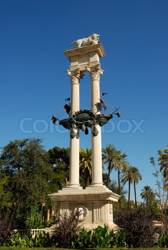 Monument dedicated to the discovery of America, Seville, Spain, stock photo