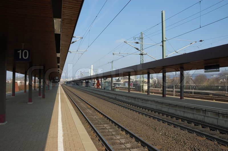 Railroad Station Platform, stock photo