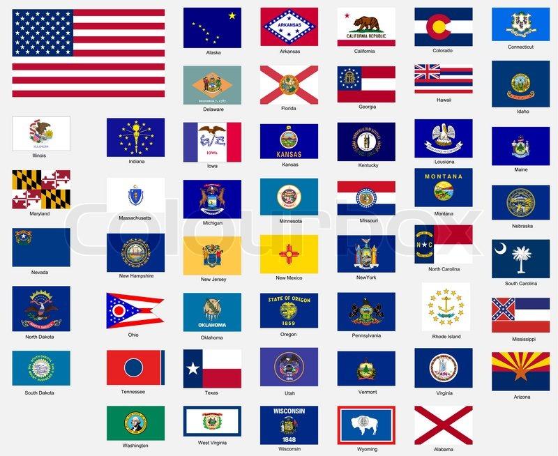 Staaten Flaggen Der Vereinigten Staaten Stock Bild Colourbox